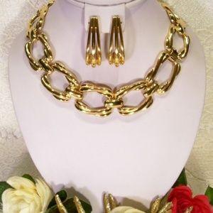 PR-1445 Golden Shine Open Link Necklace ER Set